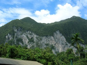 The cliffs of Gunung Benarat from Camp 5