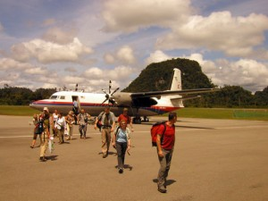Disembarking at Mulu airport