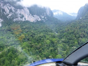 helicopter in Melinau Gorge